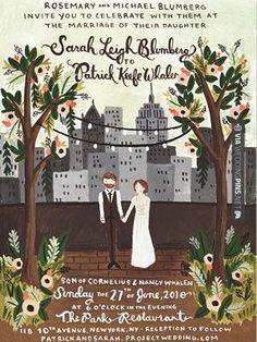 Cool - illustrated invitations...interesting idea! | CHECK OUT MORE IDEAS AT WEDDINGPINS.NET | #weddings #weddingplanning #coolideas #events #forweddings #weddingplaces #romance #beauty #planners #weddingdestinations #travel #romanticplaces #eventplanners #weddingdress #weddingcake #brides #grooms #weddinginvitations