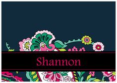 Vera inspired personalized note cards in Petal Paisley.  Multiple sizes available.  Great for college grads, teachers or bridesmaids gifts.