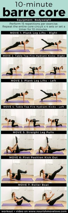 10 Minute Barre Abs Workout | barre workout I at home workout I at home workout for women I barre I barre exercises II Nourish Move Love #barre #athomeworkout #abworkout Barre Workouts, Barre Moves, Ballet Barre Workout, Pilates Barre, Barre Fitness, Workout Fitness, Butt Workout, Fitness Fun, Fitness Motivation