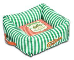 Neutral-Striped Ultra-Plush Easy Wash Squared Designer Dog Bed