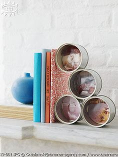 Put pretty back drops in your cans....been looking for something to do with my recycled cans! :)