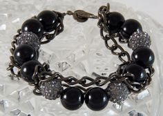Onyx, bling and chain necklace by DesignsByJunebug on Etsy. https://www.etsy.com/listing/212005343/black-onyx-smoked-silver-pave-chain