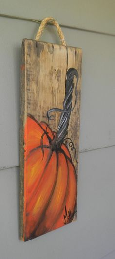Fall Canvas Painting, Pumpkin Painting, Pumpkin Art, Autumn Painting, Autumn Art, Fall Paintings, Pumpkin Crafts, Painting On Wood, Halloween Wood Crafts
