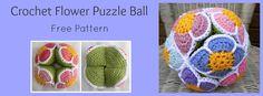 Crochet Flower Ball, #crochet, free pattern, baby, stuffed toy, #haken, gratis patroon (Engels), Amish puzzel bal, baby, speeltje, kraamcadeau, #haakpatroon