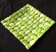 Woven glass fusion plate 7:7 | Pottery ceramics glass fusion | Pinter ...