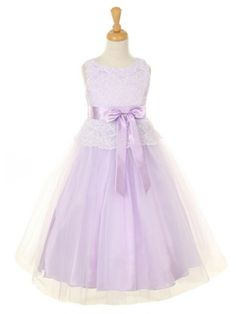Lilac Elegant Lace Bodice with Tulle Skirt Flower Girl Dress (Sizes 2-12 in 6 Colors) - GIRLS