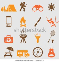 Camping icons set.Vector - stock vector