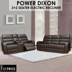 Power Electro Dixon is one of the finest recliners we have available to offer. Crafted in tough leather air which makes it more durable and less maintenance required. The 3+2 Seater to provide you with the ultimate convenience and cinema experience. Get your hands on these to enjoy the comfort at the fullest.