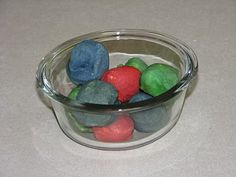 Baked Cotton balls with preschool kids -great activity for one or two kids.  For six?  Not so much :)