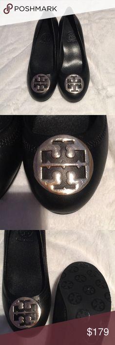 Tory Burch Amy Leather Pumps / Heels Gold Accents Only worn around the house once. Basically brand new :) slight scuffing on logo due to handling. Tory Burch Shoes Heels