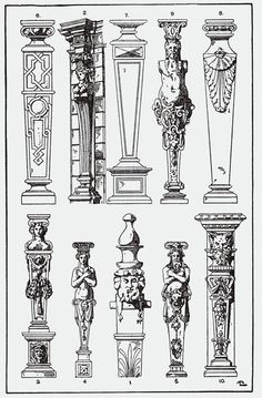 Terminal figures copied from French and Antwerp 16th-century Mannerist pattern books