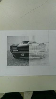 50/50 Portrait Drawing-1969 Chevrolet Camaro