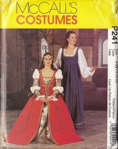 Misses' Empire Waist Renaissance Costume w/Hat Pattern 18-20-22 McCall's P241
