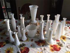 Vintage Lot 20 Milk Glass Bud Vases~~Wedding ~Florist~Shower~Assorted #MilkGlass