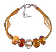Organza and Cotton Cord Bracelet with Bead Charms - Golden Brown (B385)