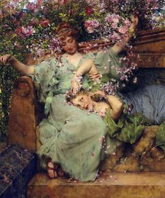 "marcuscrassus: "" ""Lawrence Alma-Tadema - In a Rose Garden (1890) "" "" #rosegardening"