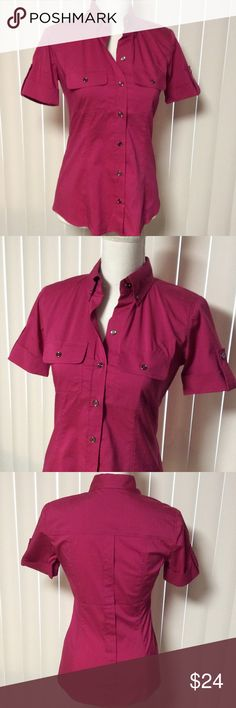 Short Sleeve Button Tab Cuffed Top Short Sleeve Button Tab Cuffed Top by New York & Company STRETCH button down front - point tip buttoned collar - two pocket button closure pockets - 60% cotton, 35% polyester, 5% spandex - Spring has Sprung! NWT New York & Company Tops Button Down Shirts