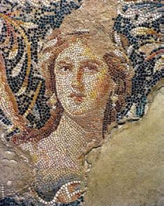 This richly colored mosaic portrait of an unnamed woman was discovered among the ruins of the Roman city of Sepphoris in the Galilee. Sepphoris was probably destroyed by an earthquake in 363 C.E. The mosaic floor was protected because it was in a building built into a hill. As a result of the earthquake, the mosaic was buried and left undisturbed beneath the rubble that fell from above.