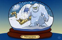 Little Bigfoot escapes from his snow globe Comic Styles, Bigfoot, Rowan, Snow Globes, 2d, Sketches, Illustrations, Cartoon, Comics