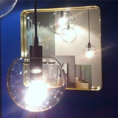 Selene lights and Cypris mirror. ClassiCon fair stand Salone del Mobile 2015. Hall 16, Stand E30. #ClassiCon #cyprismirror #ninamair #salonedelmobile #fair #milano