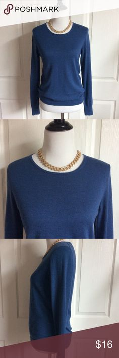 "Classic Blue Crew Neck Pullover Lovely jewel tone blue lightweight sweater in great condition. No flaws. Exposed zipper in back. See photo for fabric content. 18.5""B, 25""L Ann Taylor Sweaters Crew & Scoop Necks"