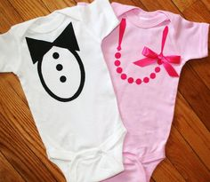 Two onesies to dress them up or dress them down, but these two are sure to charm!