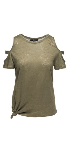 Generation Love Kendall Short Sleeve Cold Shoulder Tie With Holes in Army Green / Manage Products / Catalog / Magento Admin