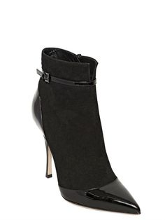 LERRE - 100MM SUEDE & LEATHER PATENT ANKLE BOOTS - LUISAVIAROMA - LUXURY SHOPPING WORLDWIDE SHIPPING - FLORENCE