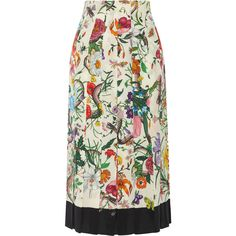 Gucci Pleated floral-print silk crepe de chine midi skirt (€1.340) ❤ liked on Polyvore featuring skirts, floral skirt, silk skirt, patterned midi skirt, patterned skirts and gucci