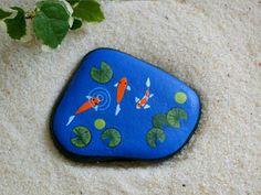 Koi fish pond, doll house miniature garden art for fairies moss terrarium, painted rock by RockArtiste, $25.00