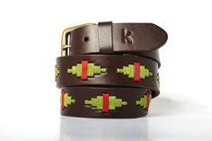 Men leather belts from Argentina / Pistache - Rouge