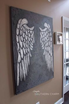 Wings on Canvas Angel Wings on Canvas! - All Things Heart and HomeAngel Wings on Canvas! - All Things Heart and Home Angel Art, Angel Wings Painting, Angel Wings Drawing, Angel Wings Art, Angel Decor, Heart Painting, Painting Inspiration, Diy Art, Painting & Drawing