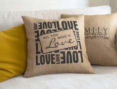 All You Need Is Love Pillow Cover  Burlap by pillowmeRustic