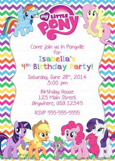 Rainbow little pony birthday invitation