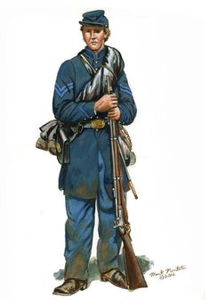 Pictured is regulation Federal Army Corporal frock coat, trousers, standard forage cap, and accouterments. Military Art, Military History, American Civil War, American History, Civil War Art, Union Army, Army Uniform, Historical Pictures, War Machine