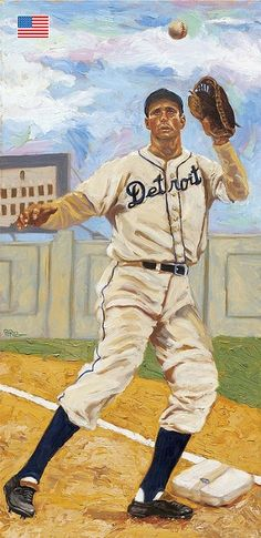 Baseball Art - Hank Greenberg by Dick Perez Baseball Painting, Baseball Art, Famous Baseball Players, Tiger Art, Sports Art, Sports Posters, Kids Soccer, Ny Yankees, Girl Running
