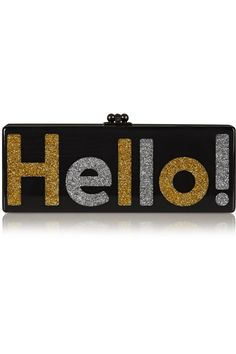 Shop on-sale Edie Parker Flavia Hello! glittered acrylic box clutch. Browse  other