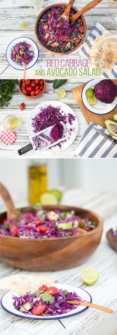 Red cabbage and avocado salad, starring sweet cheery tomatoes, roasted pumpkin seeds, coriander and zesty lime dressing. Tasty and healthy bowl of contrasting and complementing textures and flavours #vegan #recipes #vegetarian #salad