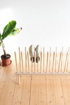shoe rack, sorry don't know what it says, but they have other good ideas there