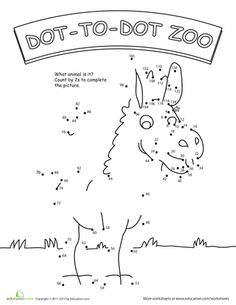 Worksheets: Dot to Dot Zoo: 2's Part II