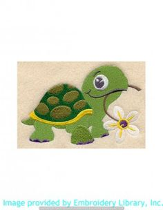 Stickmotiv Stickbild Aufnäher Stickerei Emblem Schildkröte  Schildkröte /  Stickerei Hungry Turtle (E5284)