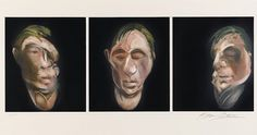 Francis Bacon. Three Studies for a Self-Portrait. 1990. Lithograph. 37.2x20.5. Winwood Gallery. This shows three different views of the same face with different expressions and portrayals of personalities. This conveys the idea of three different identities in one person.