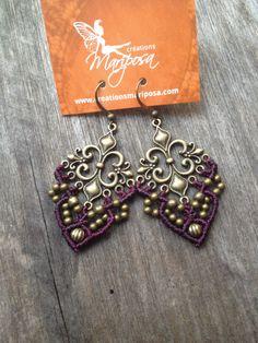 Micro macramé earrings Fleur de lis in prune par creationsmariposa, $27.00