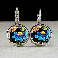 Flower Power Photo Glass Tile Earrings Flower by joannajewelry, $10.95
