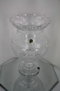 """LARGE Beautiful Waterford Cut Crystal Footed Hurricane Lamp Vase Candle 12.5"""""""