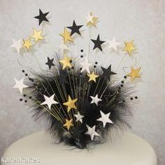GOLD, CREAM & BLACK STAR CAKE TOPPER WITH MARABOU FEATHER - ANY OCCASION | eBay