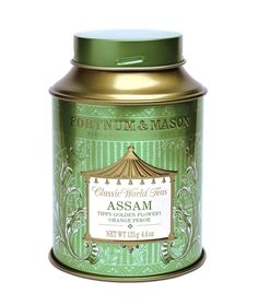 Fortnum & Mason Classic World Teas collection Assam Tippy Golden Flowery Orange Pekoe tea tin ... green and gold canister shape tin with screw on cap lid, c. 2010s, UK