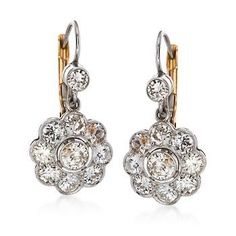 Ross-Simons - C. 2000 Vintage 2.40 ct. t.w. Diamond Floral Drop Earrings in Platinum and 14kt Yellow Gold - #870115