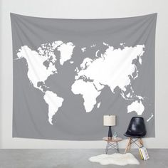 World Map Wall Tapestry / Grey and Cream Trendy Map Printed Wall Tapestry / Aldari House. ** Take a look at more by checking out the photo