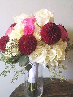 White Pink & Burgendy Bridal Wedding Bouquet :: The Vines Flower & Garden Shop